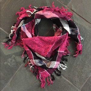 100% rayon pink/black aztec/tribal scarf w/fringe